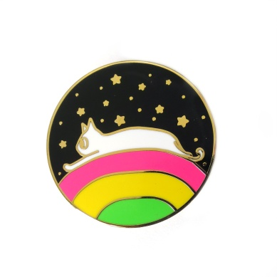 Rainbow Space Cat Pin